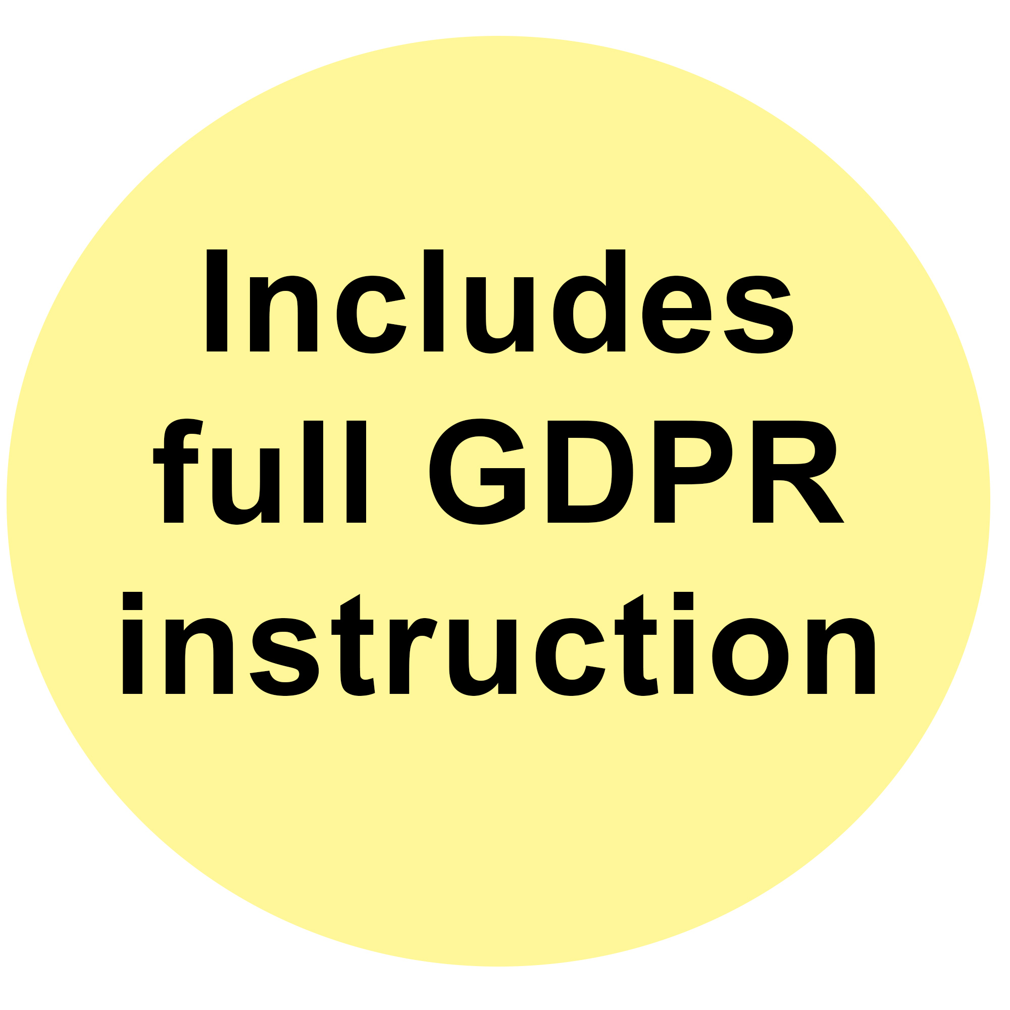 Includes full GDPR Instruction